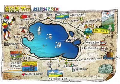 环湖手绘骑行线路地图